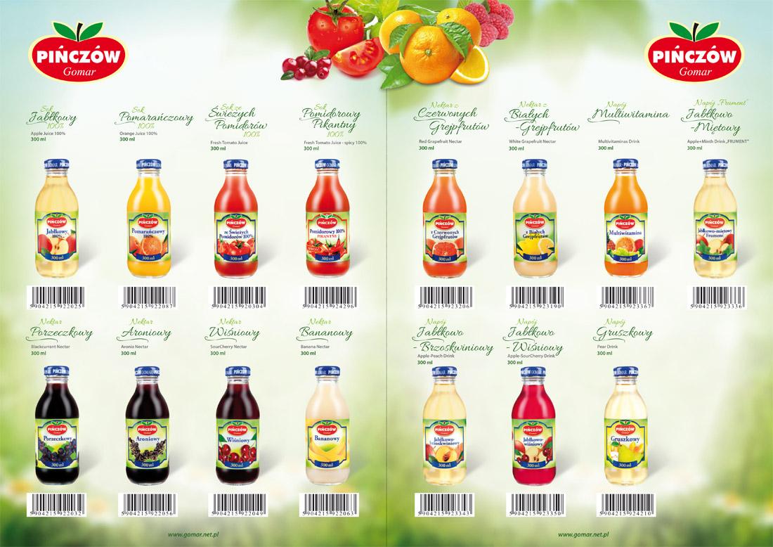 Karty produktowe - soki owocowe Gomar Pińczów