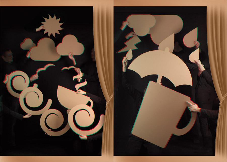 Fotografia 3D (okulary) - Pantomima z kartonami