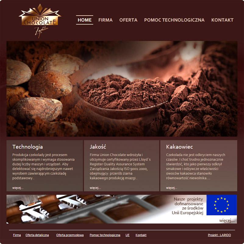 UNION CHOCOLATE strona internetowa