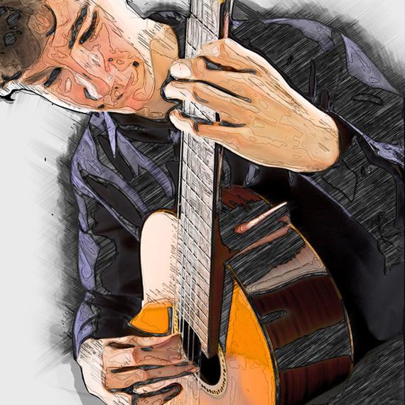 Z gitarą - portret studyjny + postprodukcja w PS