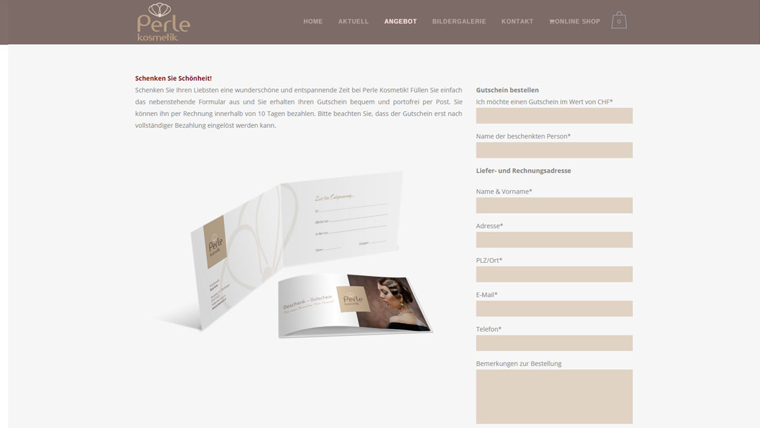 PERLEKOSMETIK.CH strona internetowa + online shop